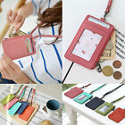 Women Genuine Leather Credit Card Holder Wallet ID Badge Card Holder Necklace