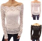 Laides Floral Lace Scallop Off Shoulder Boat Neck Fitted Sheer Casual Tops LA