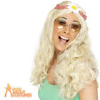1960s Ladies Long Blonde Groovy Hippy Wig With Beads Fancy Dress Accessory
