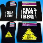 BARBECUE OVEN GLOVE & CHEF'S APRON FUN WARNING Danger Man Cooking! REAL MEN BBQ