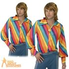 1970s Rainbow Colour Shirt Striped Mens Disco Fancy Dress Costume New