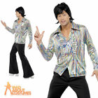 Adult 70s Retro Costume Mens Fancy Dress Costume Disco Flares Outfit New