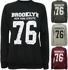 New Womens Brooklyn 76 USA Print Long Sleeve Jumper Ladies Top Sweatshirt 8 - 14