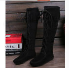 Ladies lace-up Moccasins over knee tassels fringe riding boots shoes free P&P
