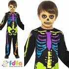 HALLOWEEN PUNKY MULTI NEON SKELETON - age 3-9 - kids boys fancy dress costume