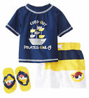 Wippette Toddler Boys Pirates Only Rash Guard Swim Short Set with Flip Flops