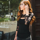 1PC Sexy Women Lace O-Neck Long Sleeve Lady T-Shirt Casual Blouse Tops Nice