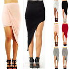 Chic Womens Classy Wrap Banded Waist Draped Cut Out Asymmetrical High Low Skirt