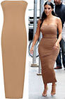 New Womens Sleeveless Stretch Bodycon Boob Tube Party Ladies Mini Dress 8-14