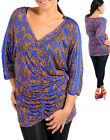 Women PVNeck 3/4 Sleeve Royal Multi Party Evening Top Size 14 16 NEW