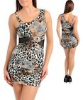 Women One Shoulder Brown Leopard Party Club Bodycon Dress Size 8 S 10 M 12 L NEW