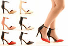 NEW LADIES WOMENS FAUX LEATHER STILETTO COURT SANDALS EVENING HEELS SHOES SIZE