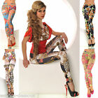 Sexy Leggings Tattoo Print Leggins Stretch Hose Design Muster OS S/M L/XL bunt