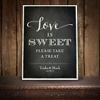 LOVE IS SWEET CANDY BAR CART BUFFET SIGN WEDDING VINTAGE CHALKBOARD STYLE -  O