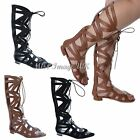 LADIES WOMENS ROMAN GLADIATOR KNEE HIGH LACE UP OPEN TOE FLAT SANDALS SHOES SIZE