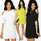 Casual Ladies Women Summer Loose Hollowed Shoulders Party Beach Chiffon Dress