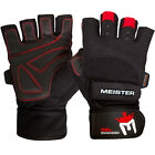 MEISTER WRIST WRAP WEIGHT LIFTING GLOVES w/ GEL PADDING Workout Gym Crossfit BK