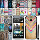 For HTC One 2 M8 SLIM FIT PATTERN HARD Case Back Phone Cover + Pen