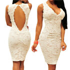 Sleeveless White Lace Ruched Key-Hole Back Party Cocktail Club Bodycon Dress