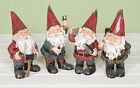 Workmen Garden Gnomes Vintage Carved Wood Effect Figurine Decor Gift Ornament