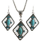 Hollow Rhombus Marquise Turquoise Pendant Silver Necklace Earrings Set Jewelry
