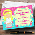Makeover Nail Spa Theme Personalised Birthday Party Invitations - Th49
