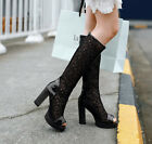 NEW Womens High Block Heels Platform Open Toe Knee High Boots Hollow Out Shoes