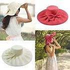 Women Lady Kentucky Derby Linen Wide Brim Church Beach Sun Bow Hat Tea Party