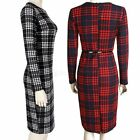 Women Long Sleeve Winter Tartan Tunic Work Party Sheath Pencil Bodycon Dresses
