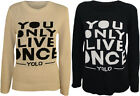 New Womens Knitted Jumper Keep Calm Yolo Ladies Long Sleeve Stretch Top 8-14