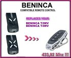 BENINCA T2WV,T4WV,TO GO 2WV or TO GO 4WV Replacement Remote Control Transmitter