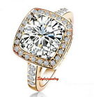 Rose Gold Plate Swarovski Crystal Lab Diamond Square Wedding Engagement Ring R80