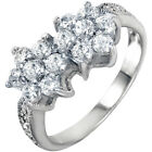 925 Sterling Silver Double Flowers Round Clear CZ Fancy Woman's Ring Size 3-11
