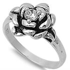 925 Sterling Silver Black Oxidized Round Clear CZ Rose Flower Ring Size 3-11