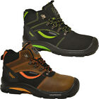 MENS GROUNDWORK SAFETY BOOTS COMPOSTIE TOE CAP METAL HOOKS WORK ANKLE SHOES SIZE
