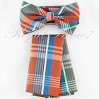 BT604 Plaid Checkers Colors Pre-tied Bowtie And Pocket Square Hanky Wedding Prom