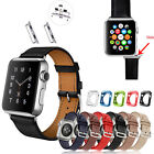 Genuine Leather Strap Wrist Band + Metal Clasp for Apple Watch iWatch 42mm /38mm