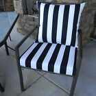 "4 Sets - 22"" x 21"" Cushion & Pillow Set for Patio Dining Chair, Solids / Stripes"