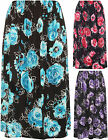 New Plus Womens Floral Print Stretch Long Pleated Elasticated Ladies Skirt 16-30