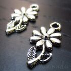 Daisy Flower Wholesale Silver Plated Charm Pendant Findings C3601 - 10, 20 Or 50