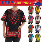 Jungo Shirt Dashiki Mexican African Tribal Kaftan Caftan Men Hippie Colorful AU