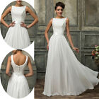 White Lace Chiffon Formal Long Evening Ball Gown Party Prom Bridesmaid Dress NEW
