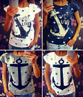 Fashion Women Short Sleeve Loose Casual Anchor Print T-shirt Tops Blouse Uk 8-18