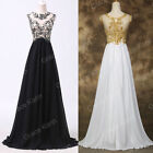 APPLIQUE Chiffon Cap Sleeve Formal Prom Party Bridesmaid Evening Dress In Stock