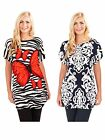 Womens Tunic Top Ruched Sides Summer Blouse T Shirt Ladies Clothing Size UK 8-16