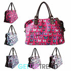 Womens LYDC Designer Butterfly Canvas Large Size Holdall Travel Weekend Bag