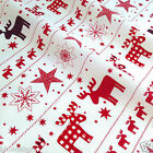 Per half metre/ FQ 100 % cotton Christmas fabric gingham deers & stars ivory