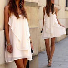 New Sexy Summer Sleeveless Women Evening Party Cocktail Casual White Mini Dress