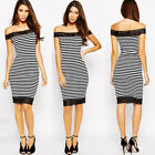 Sexy Women Lace Casual Stripes Bodycon Party Evening Cocktail Short Dress 6-18