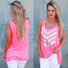 Size 8-20 Womens Lace Tank Top Sleeveless T-shirt Vest Summer Blouse Tee Tops